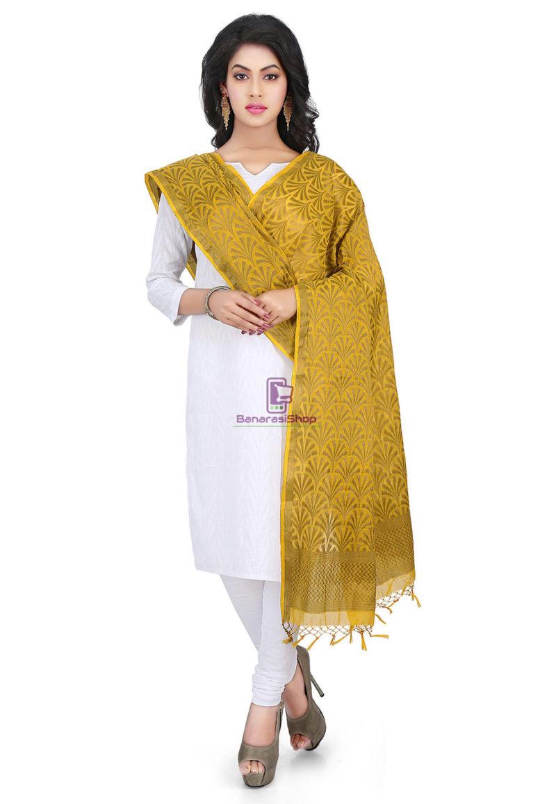 Woven Banarasi Cotton Silk Jacquard Dupatta in Mustard 1