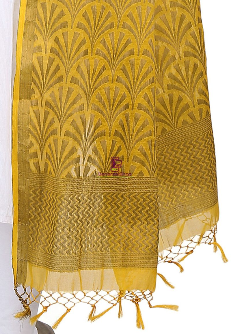 Woven Banarasi Cotton Silk Jacquard Dupatta in Mustard 3
