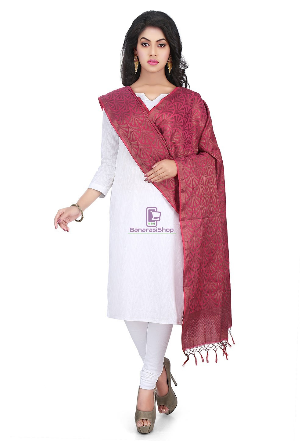 Woven Banarasi Cotton Silk Jacquard Dupatta in Wine 1