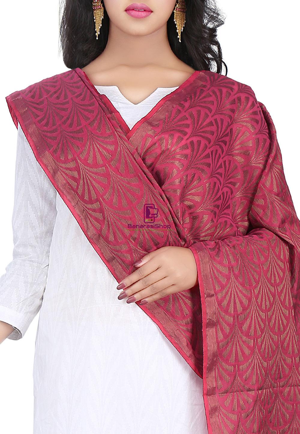 Woven Banarasi Cotton Silk Jacquard Dupatta in Wine 2