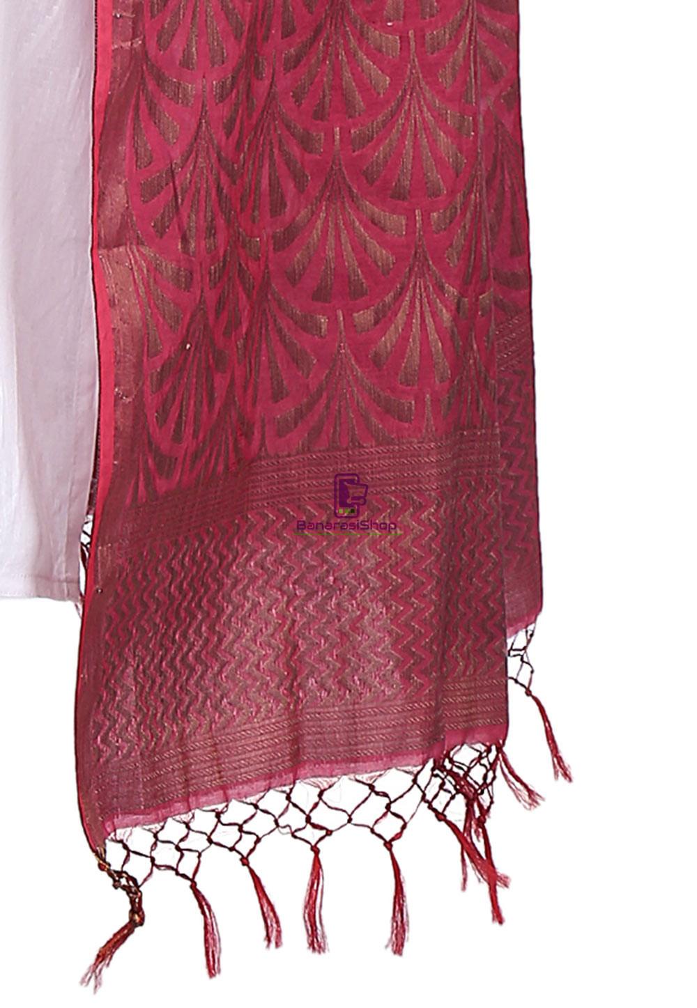 Woven Banarasi Cotton Silk Jacquard Dupatta in Wine 3