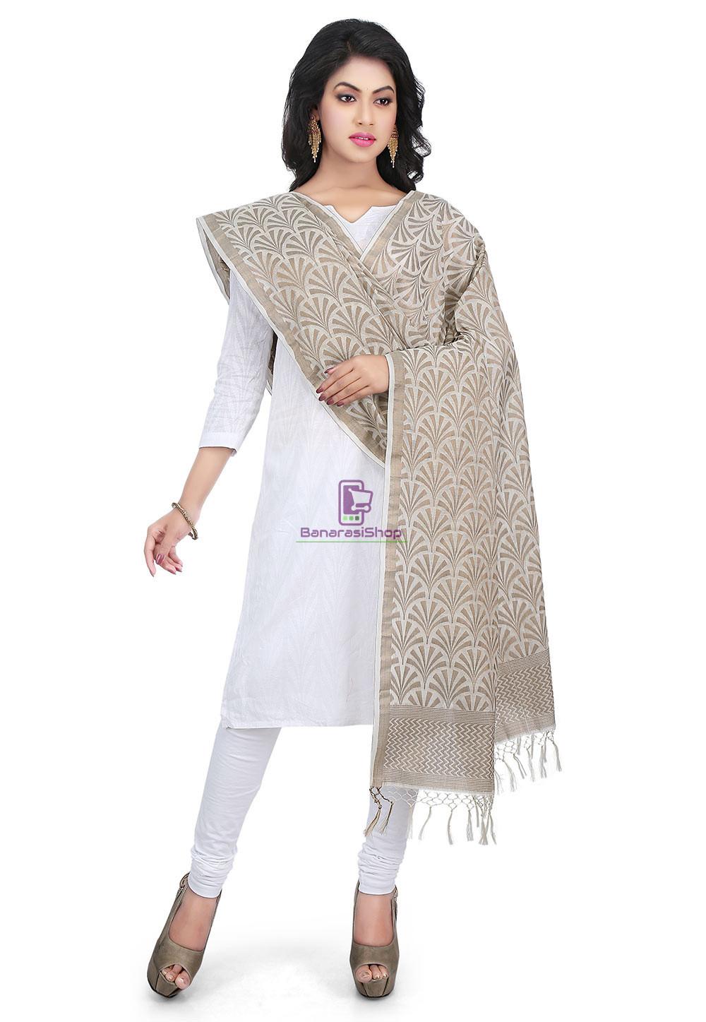 Woven Banarasi Cotton Silk Jacquard Dupatta in Off White 1