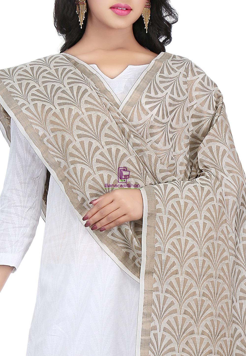 Woven Banarasi Cotton Silk Jacquard Dupatta in Off White 2
