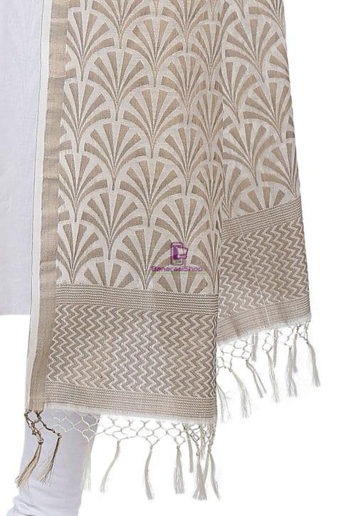 Woven Banarasi Cotton Silk Jacquard Dupatta in Off White 5