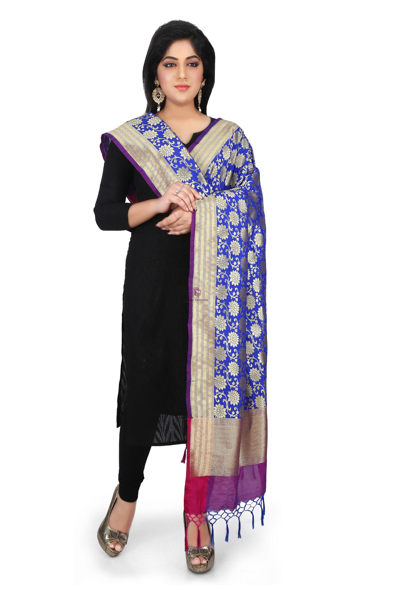 Woven Banarasi Art Silk Dupatta in Royal Blue 1