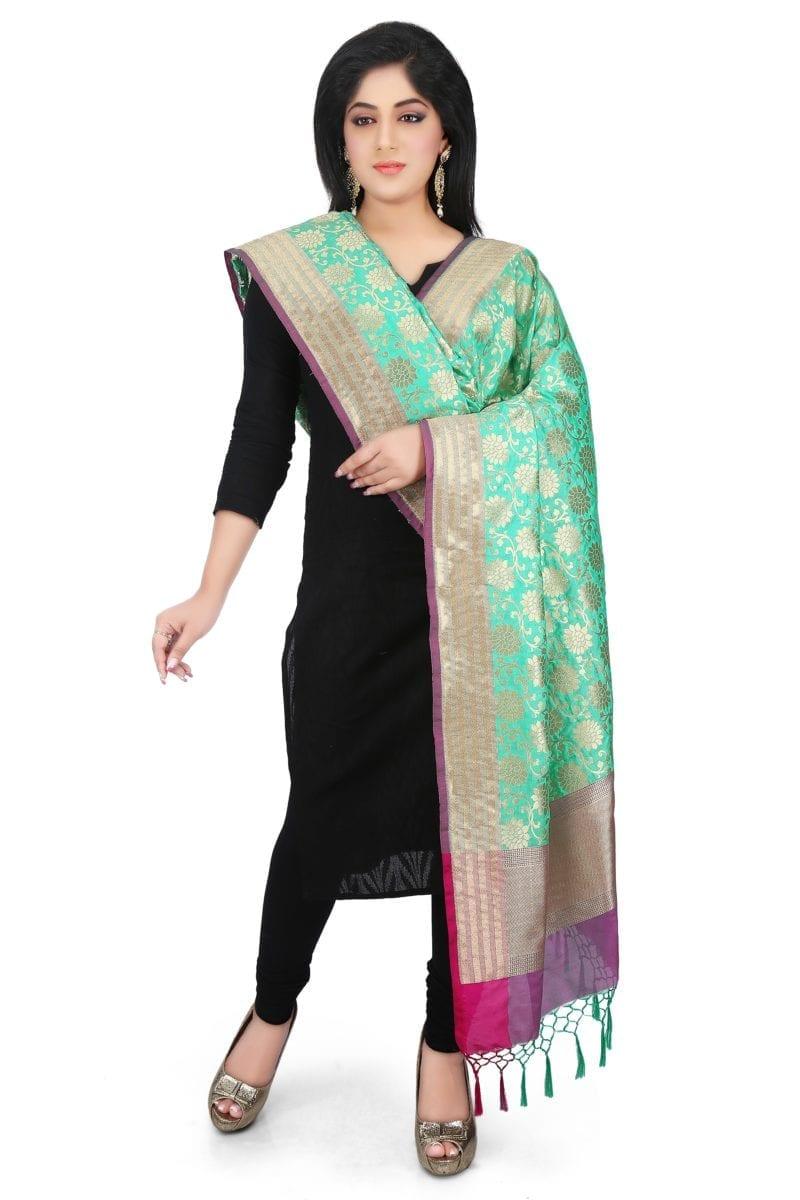 Woven Banarasi Art Silk Dupatta in Turquoise 1