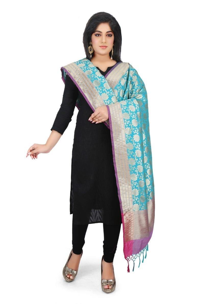 Woven Banarasi Art Silk Dupatta in Teal Blue 1