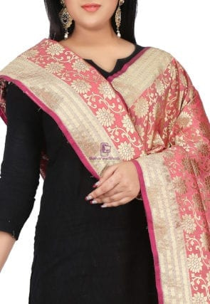 Woven Banarasi Art Silk Dupatta in Coral Pink 3
