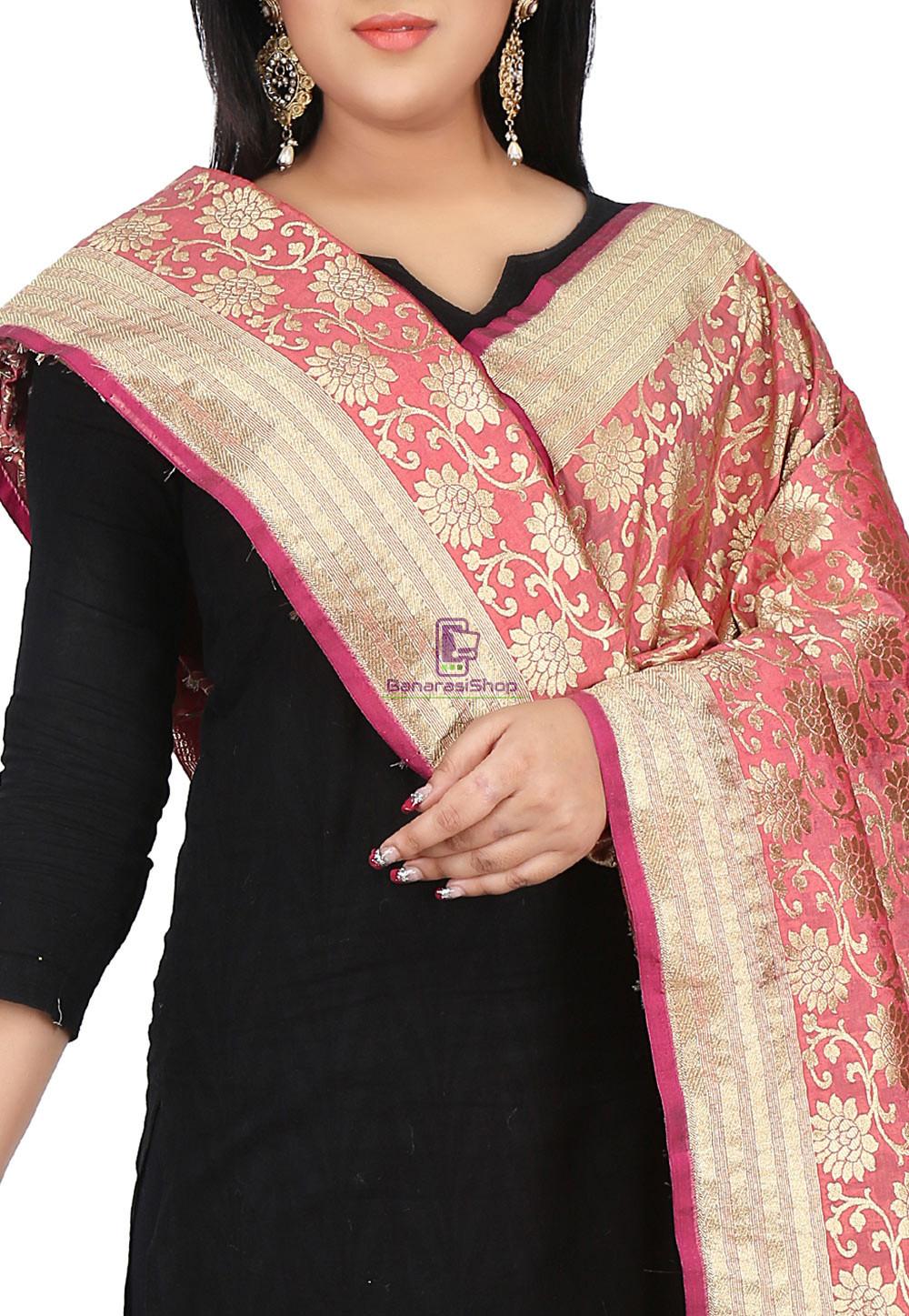 Woven Banarasi Art Silk Dupatta in Coral Pink 2