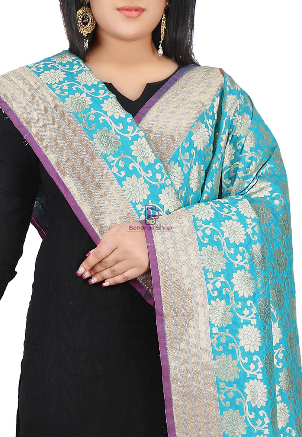 Woven Banarasi Art Silk Dupatta in Teal Blue 2