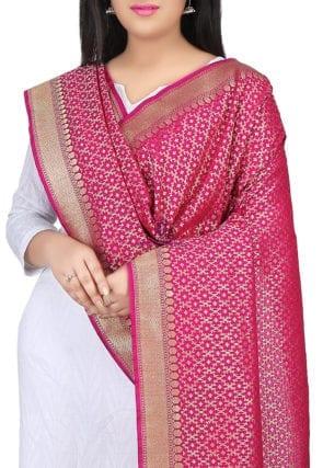 Woven Banarasi Art Silk Dupatta in Fuchsia 3