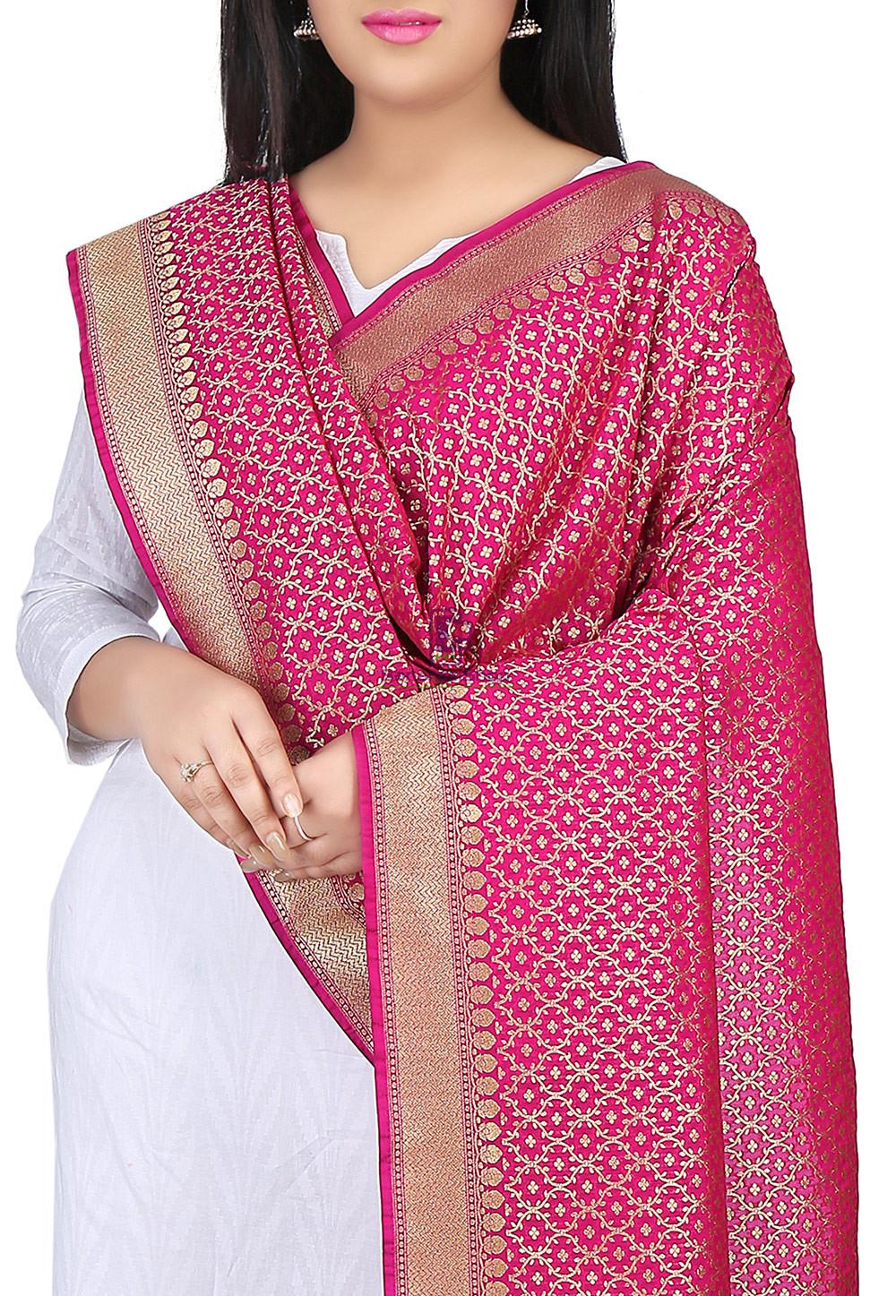 Woven Banarasi Art Silk Dupatta in Fuchsia 2