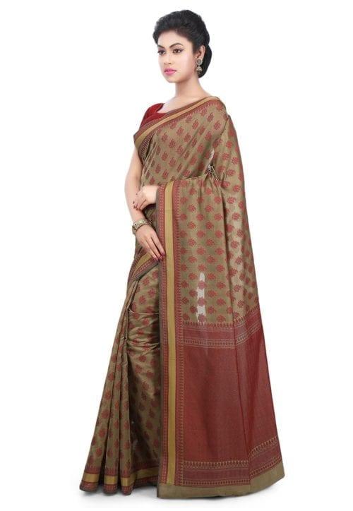 Woven Banarasi Art Silk Saree in Beige 9