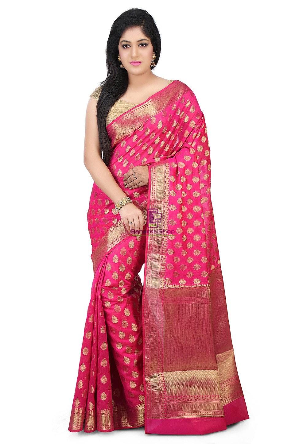 Woven Banarasi Chanderi Silk Saree in Fuchsia 1