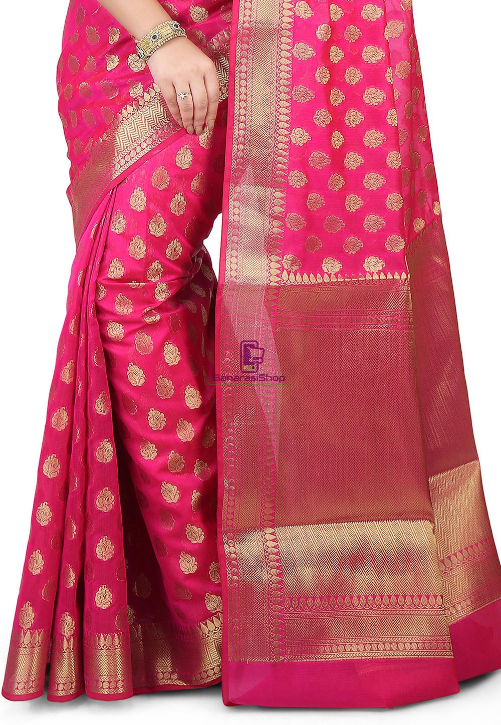 Woven Banarasi Chanderi Silk Saree in Fuchsia 2