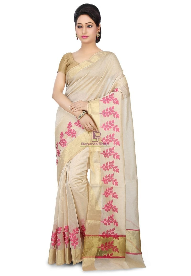 Woven Banarasi Chanderi Silk Saree in Light Beige 1