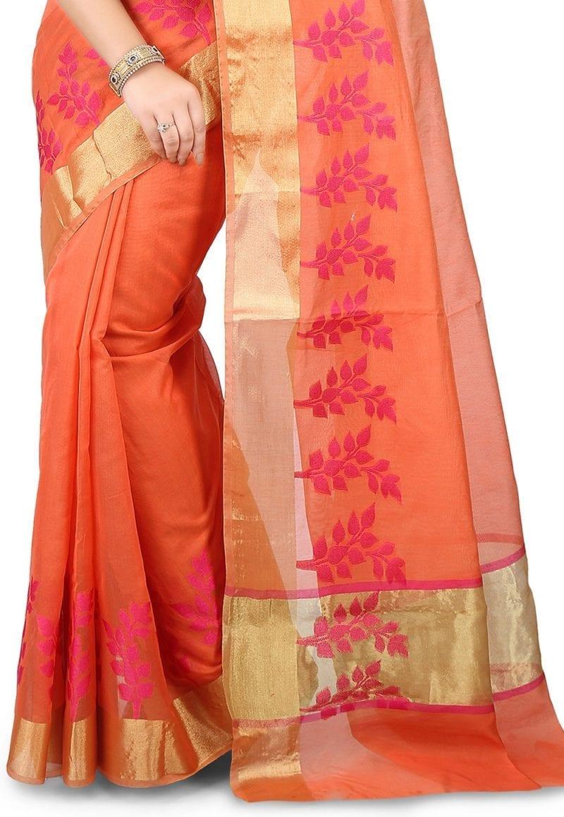 Woven Banarasi Chanderi Silk Saree in Pastel Orange 3