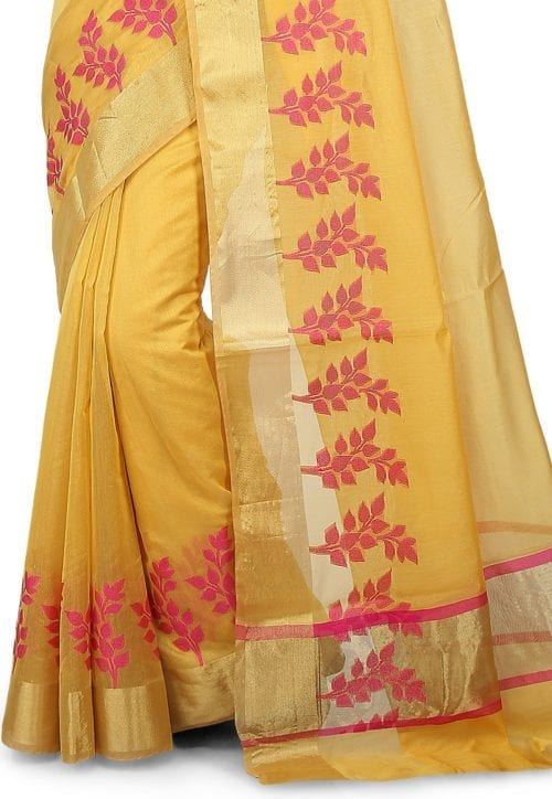 Woven Banarasi Chanderi Silk Saree in Yellow 5