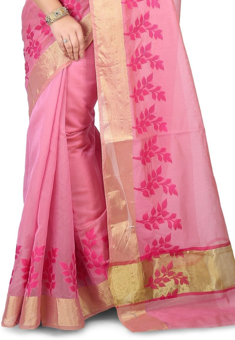 Woven Banarasi Chanderi Silk Saree in Pink 3