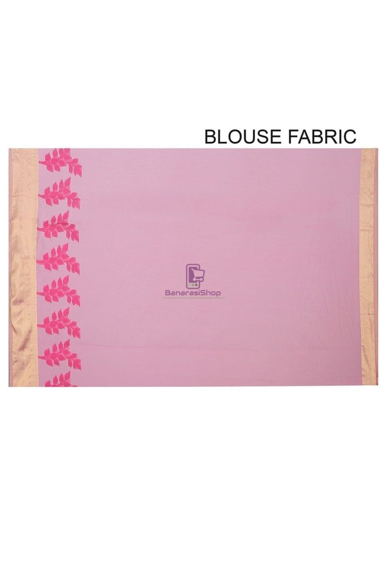 Woven Banarasi Chanderi Silk Saree in Pink 2
