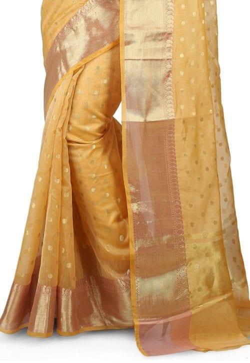Woven Banarasi Chanderi Silk Saree in Light Yellow 5
