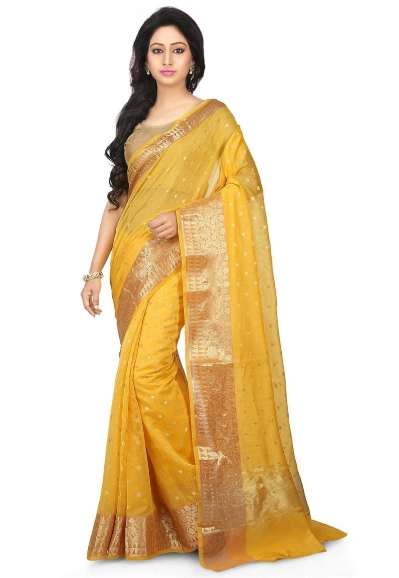 Woven Banarasi Chanderi Silk Saree in Yellow 1