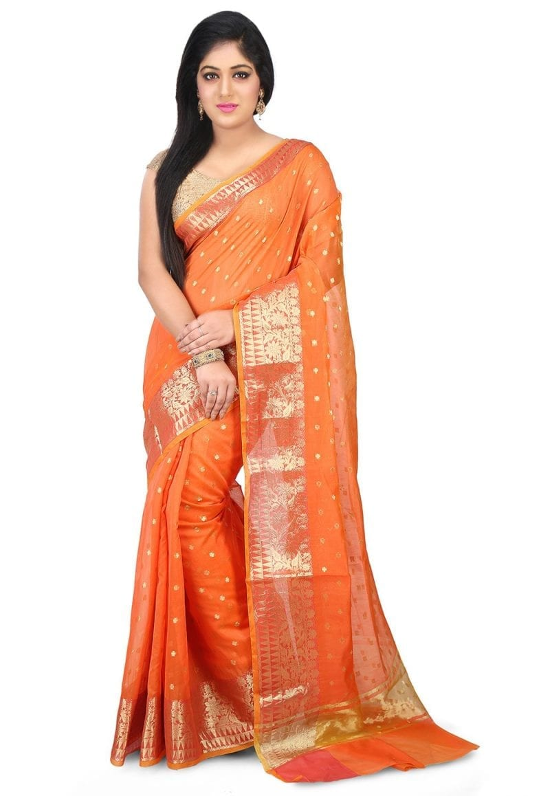 Woven Banarasi Chanderi Silk Saree in Orange 1