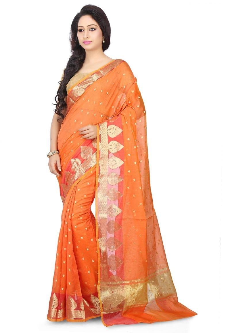 Woven Banarasi Chanderi Silk Saree in Orange 1