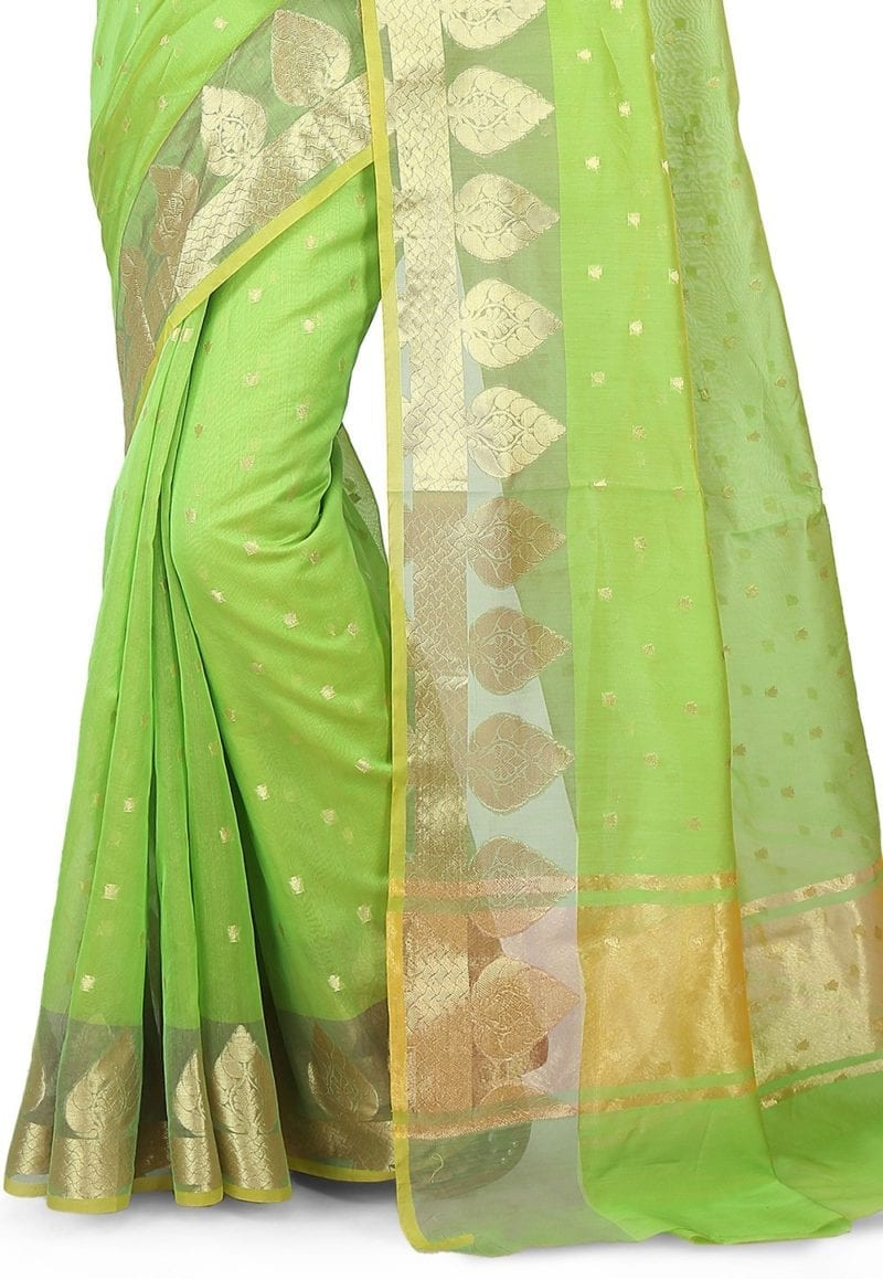 Woven Banarasi Chanderi Silk Saree in Light Green 3
