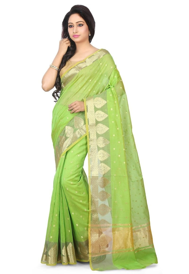 Woven Banarasi Chanderi Silk Saree in Light Green 1