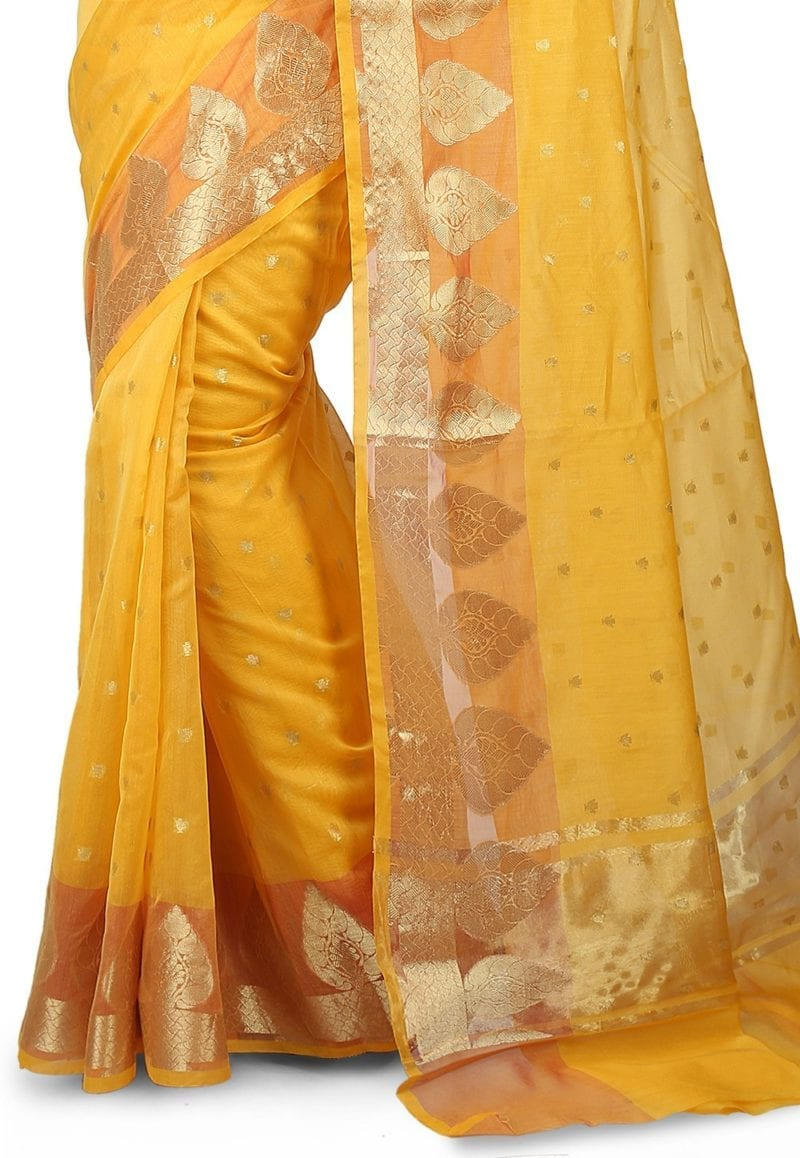 Woven Banarasi Chanderi Silk Saree in Yellow 3
