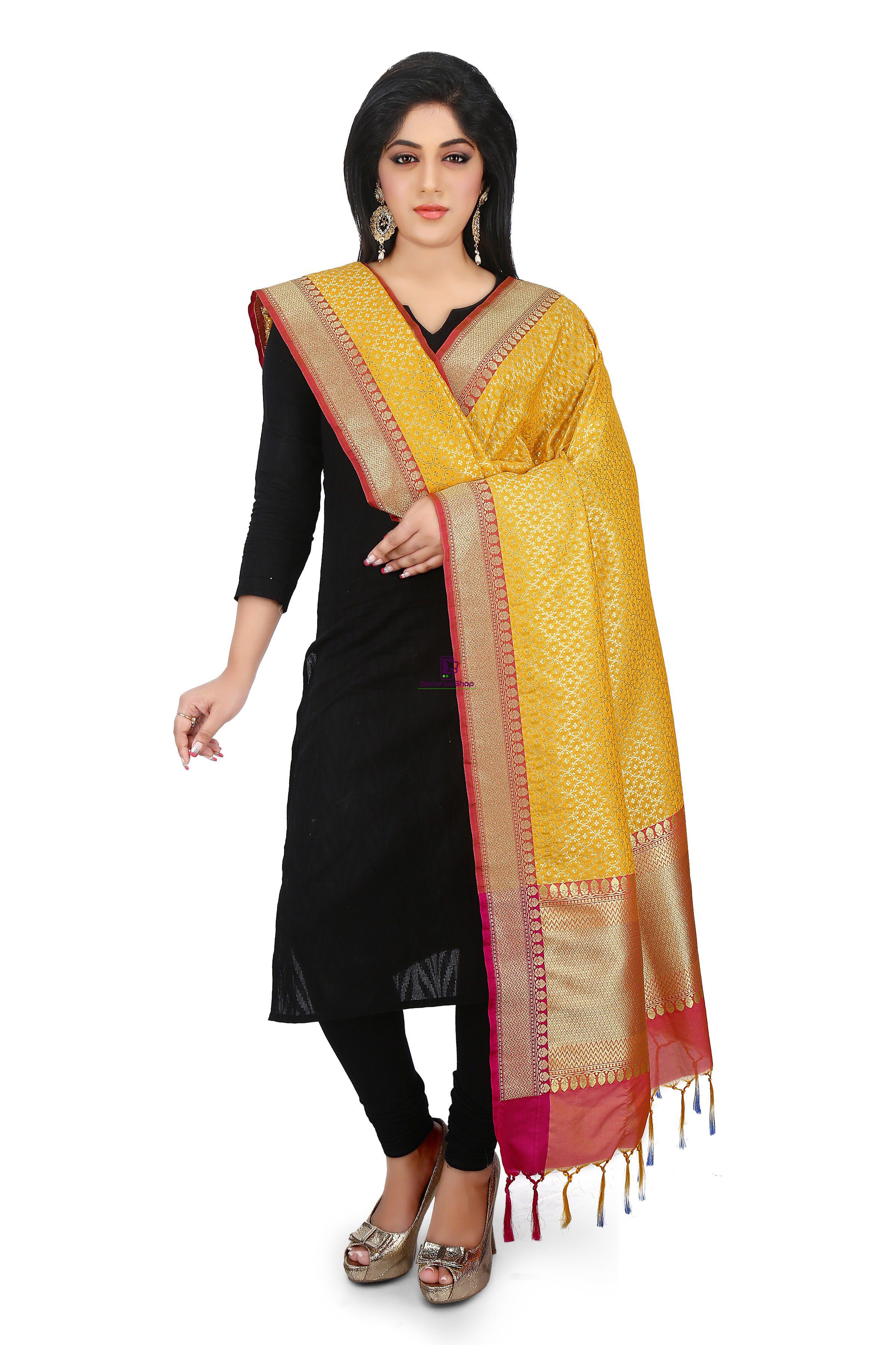 Woven Banarasi Art Silk Dupatta in Mustard 1