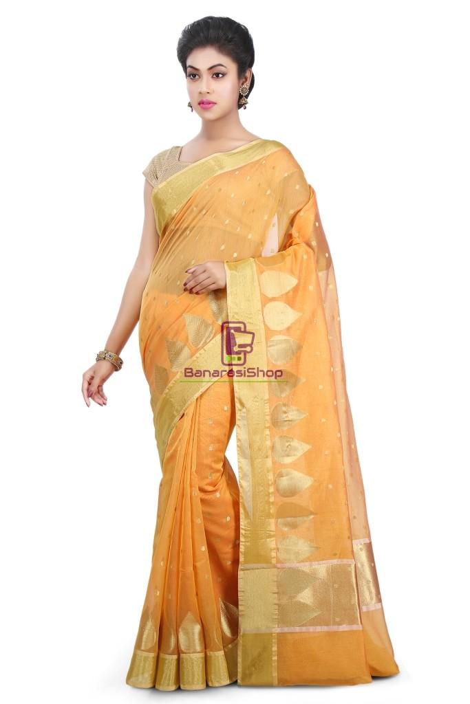 Woven Banarasi Chanderi Silk Saree in Mustard 1