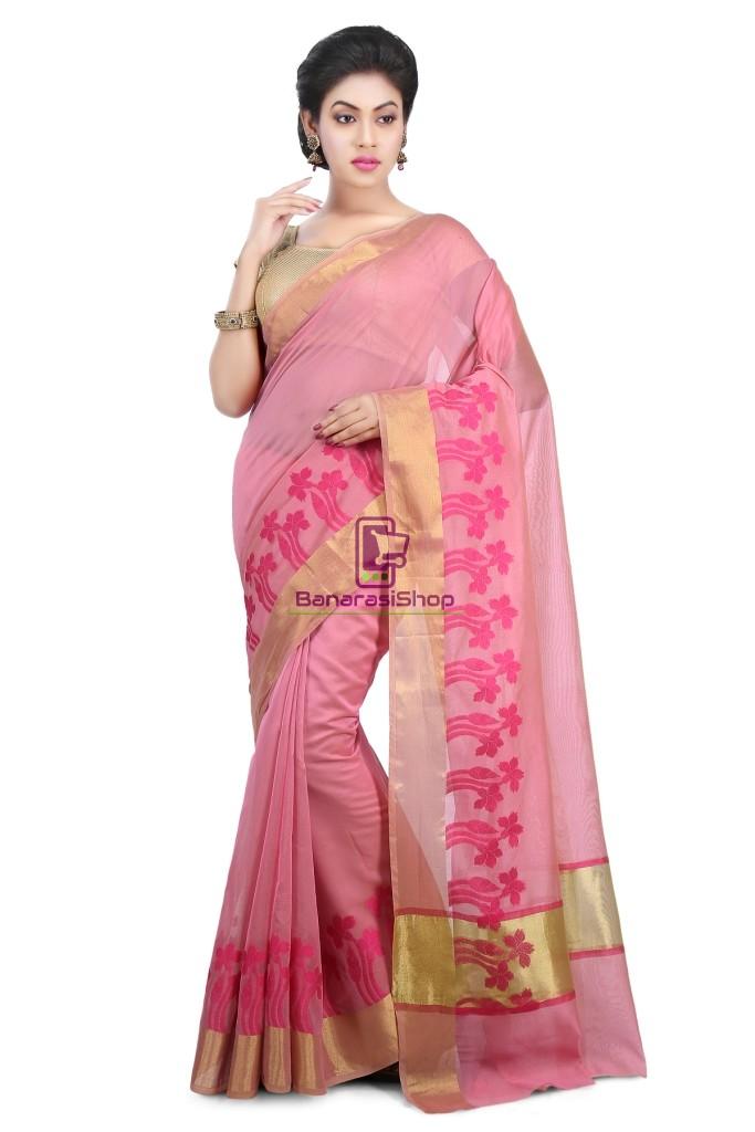 Woven Banarasi Chanderi Cotton Saree in Pink 1