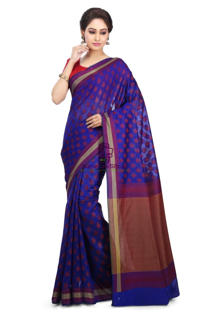 Woven Banarasi Art Silk Saree in Royal Blue 1