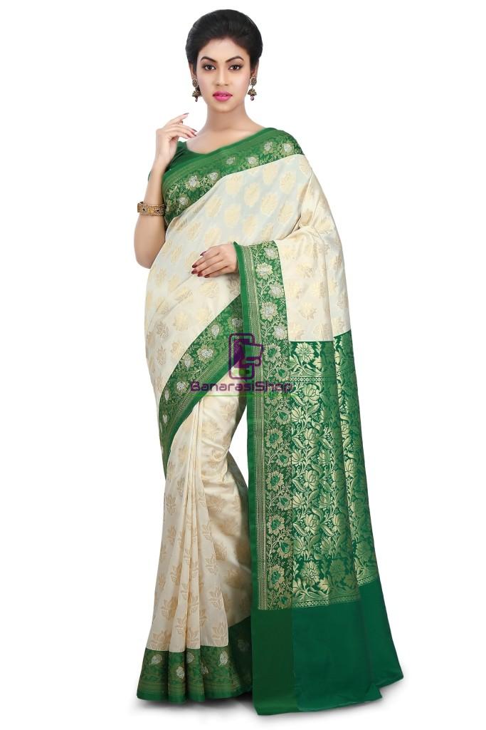 Woven Banarasi Art Silk Saree in Off White 1