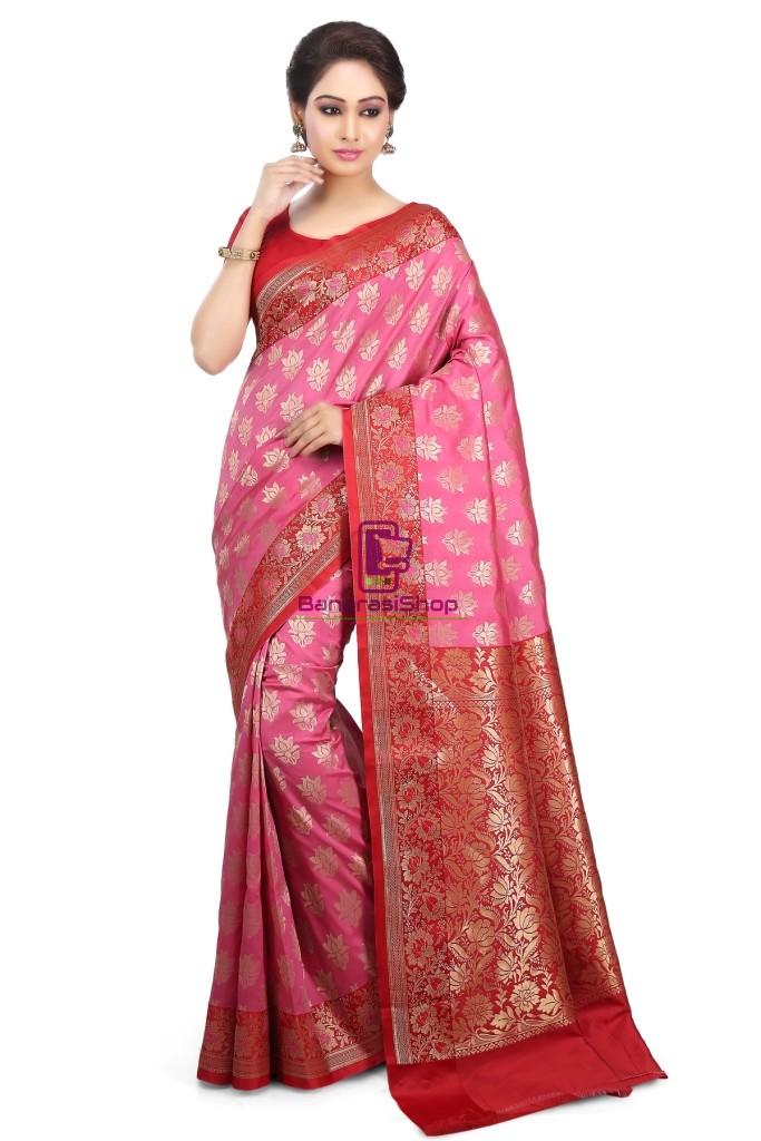 Woven Banarasi Art Silk Saree in Pink 1