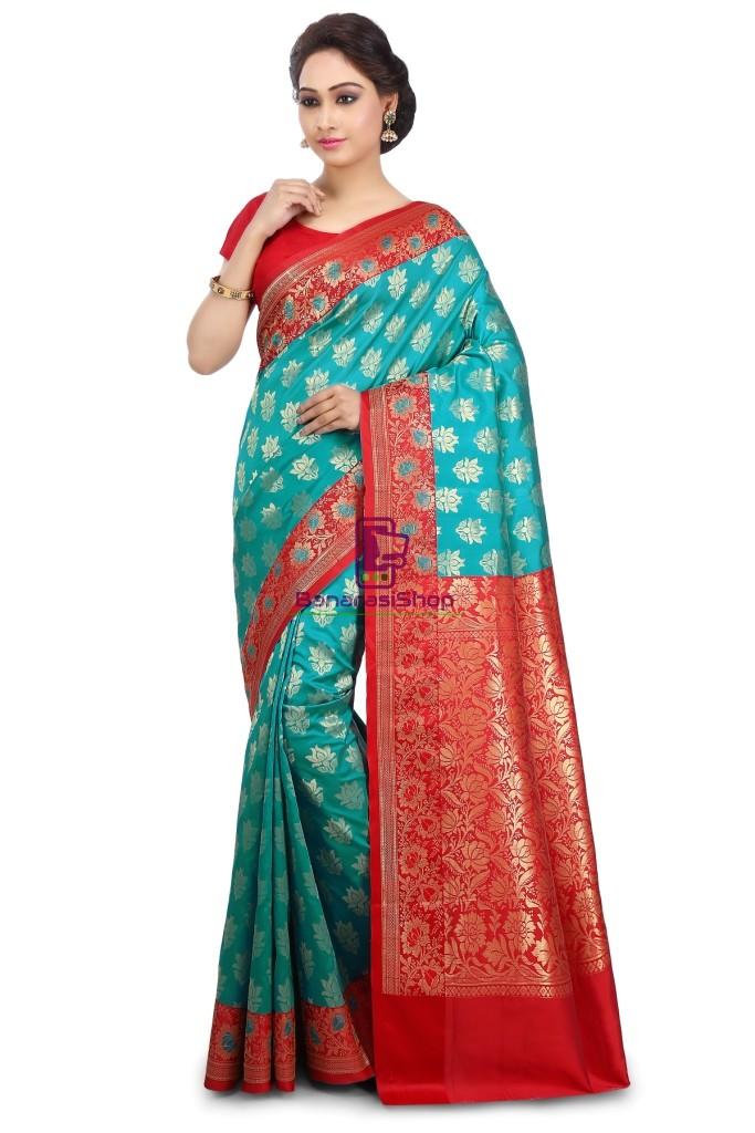 Woven Banarasi Art Silk Saree in Teal Green 1