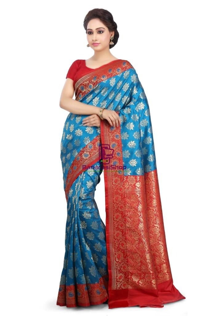 Woven Banarasi Art Silk Saree in Blue 1