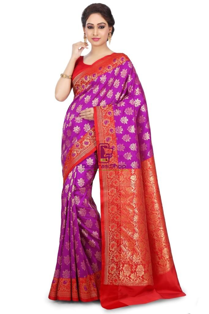 Woven Banarasi Art Silk Saree in Purple 1