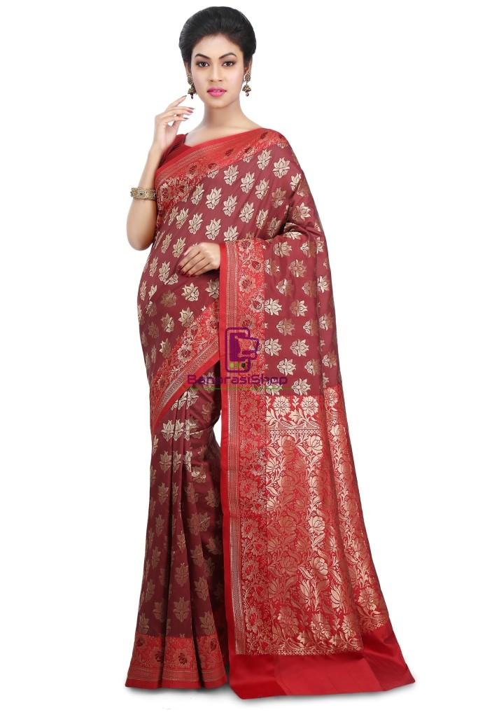 Woven Banarasi Art Silk Saree in Maroon and Red 1