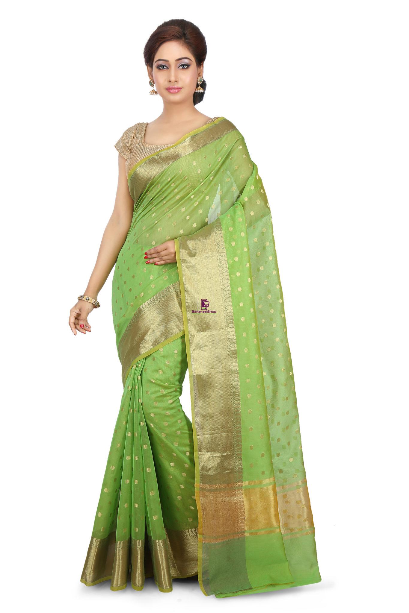 Woven Banarasi Cotton Silk Saree in Light Green 1