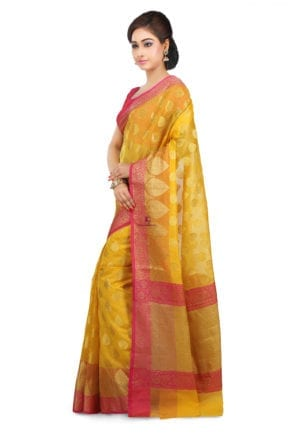 Woven Banarasi Cotton Silk Saree in Mustard 9