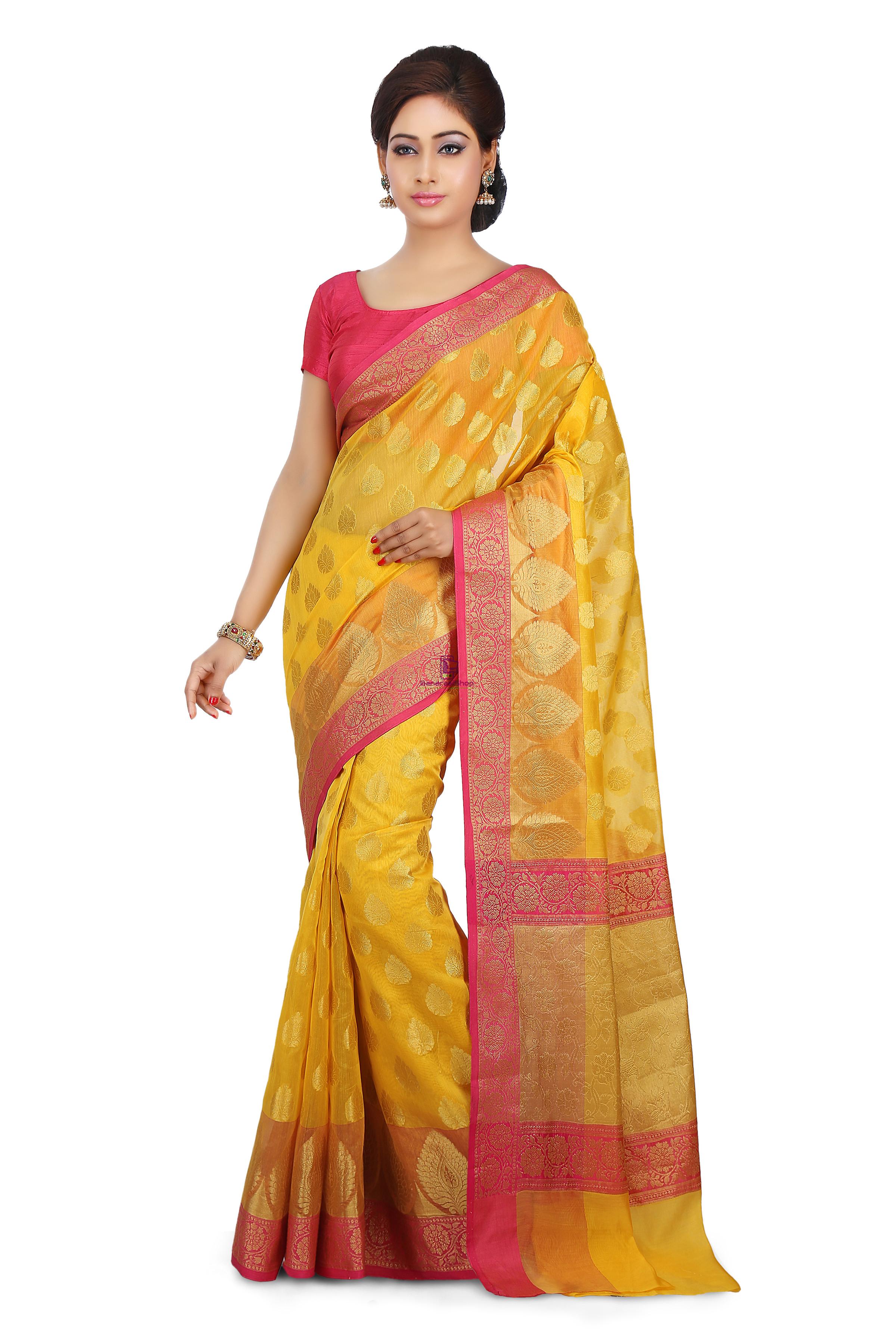 Woven Banarasi Cotton Silk Saree in Mustard 1