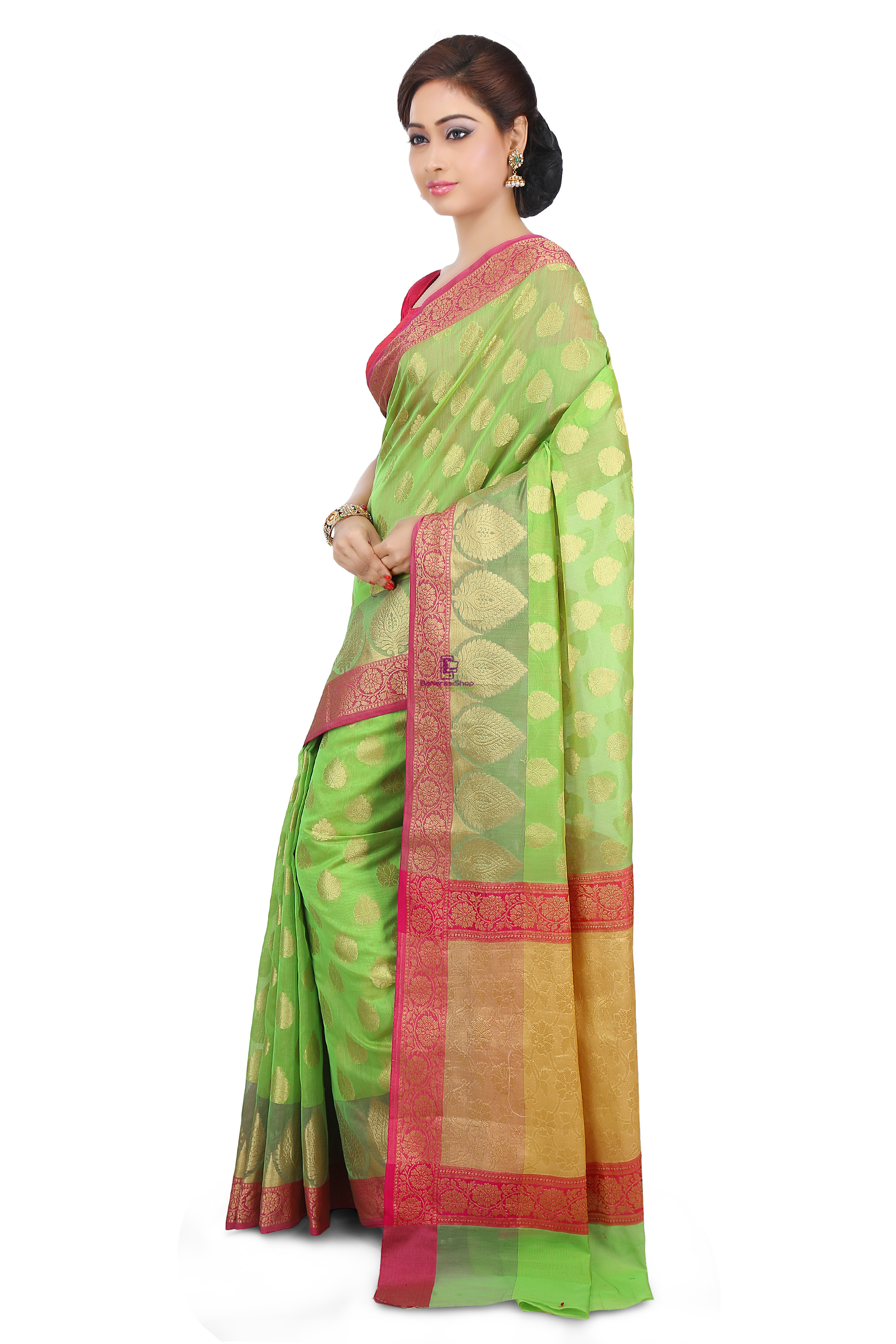 Woven Banarasi Cotton Silk Saree in Light Green 5