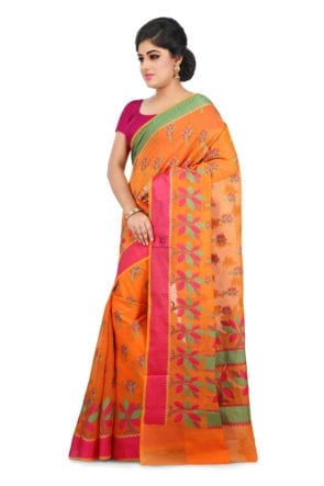 Woven Banarasi Cotton Silk Saree in Orange 9