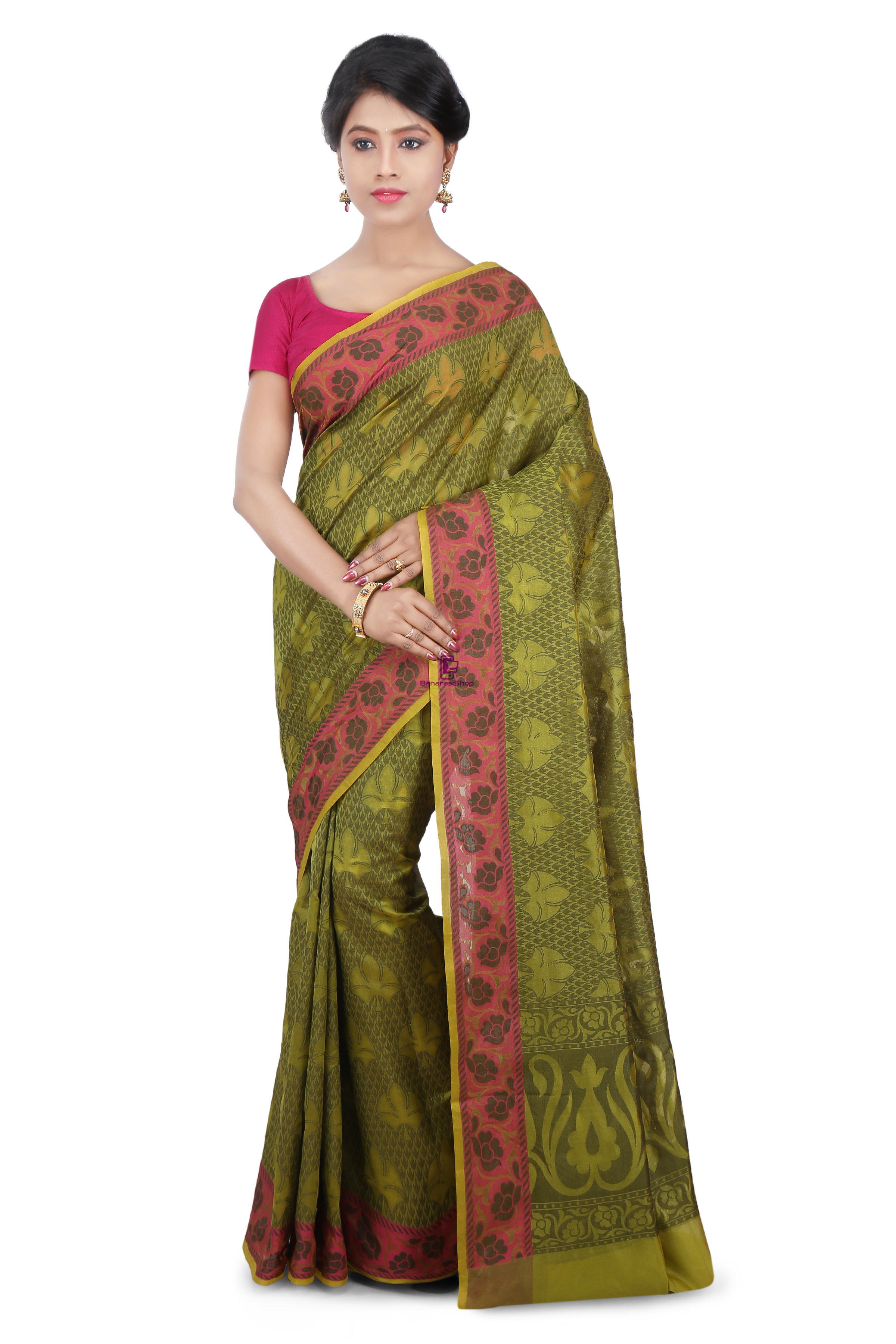 Woven Banarasi Cotton Silk Saree in Olive Green 1