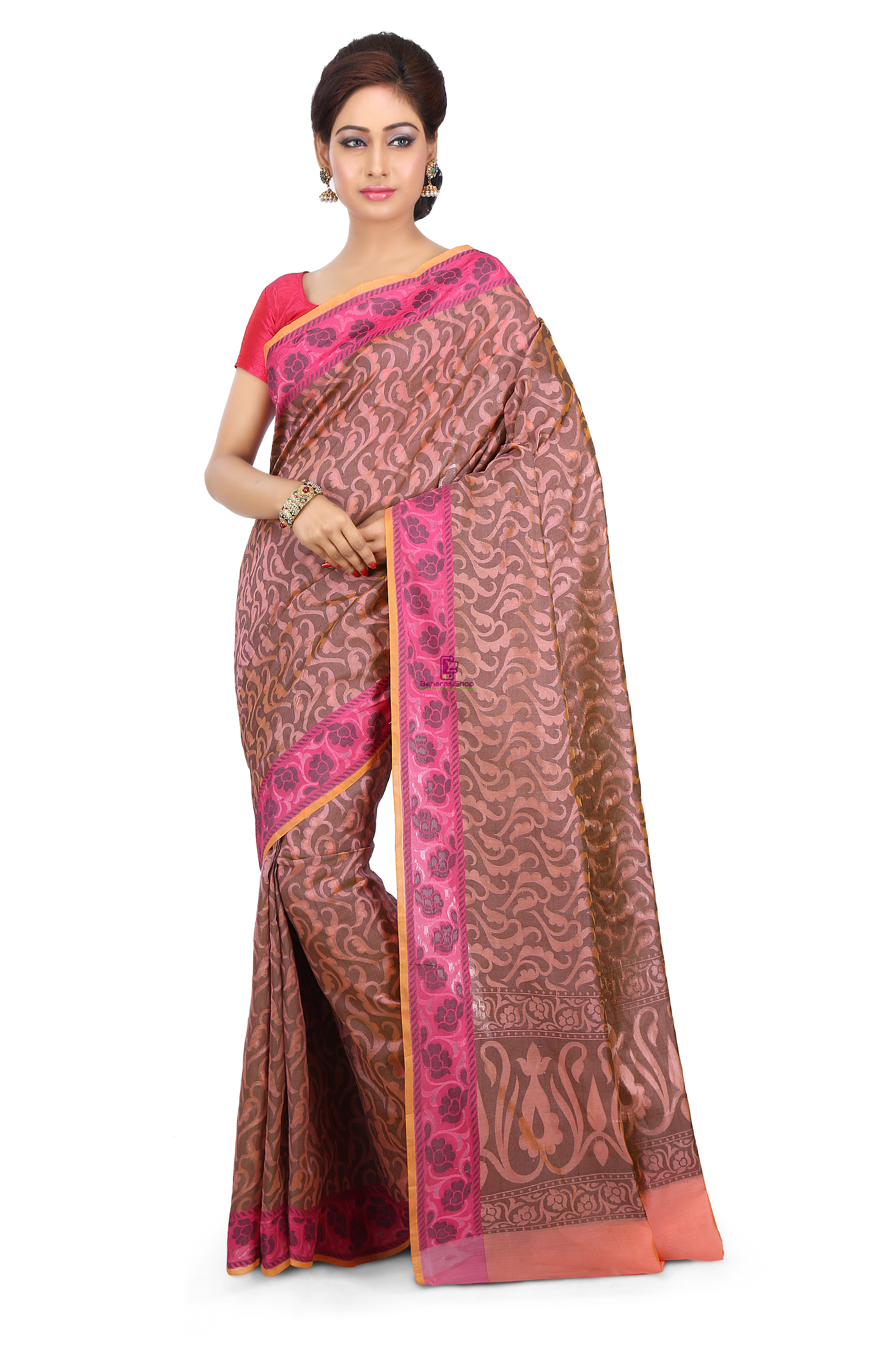 Woven Banarasi Cotton Silk Saree in Peach 1