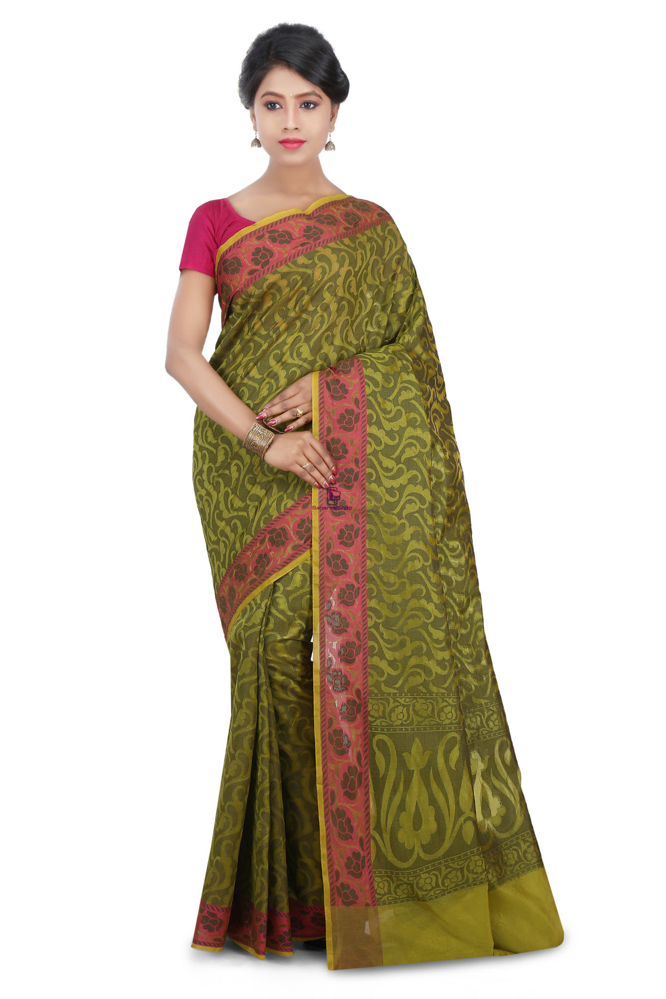 Woven Banarasi Cotton Silk Saree in Olive Green 1