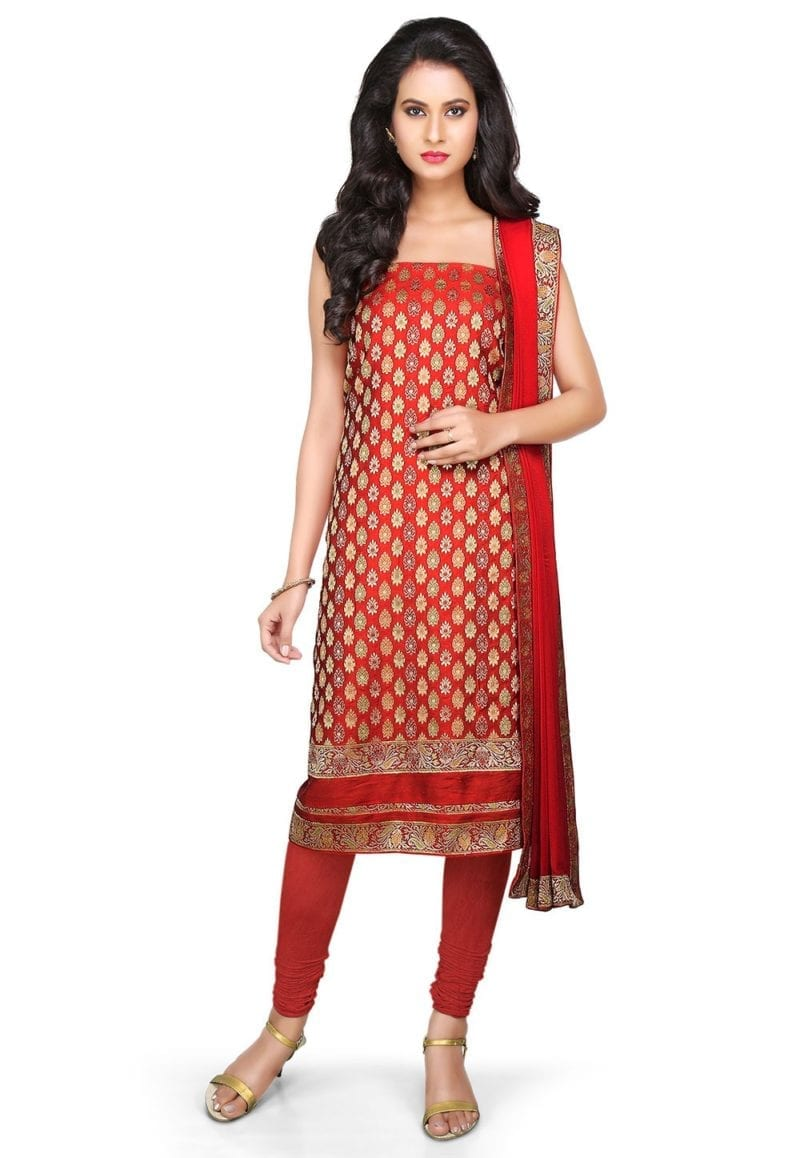 Woven Banarasi Art Silk Unstitched Suit In Red 1